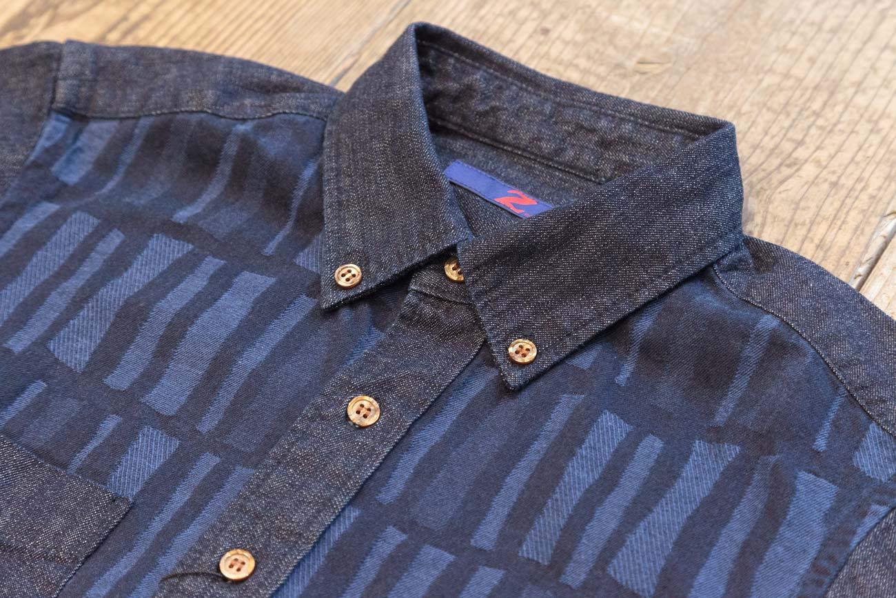 Z-JEANS モザイク ジャガードデニム BDシャツ(SB)